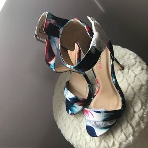 JustFab Floral High Heel Sandals